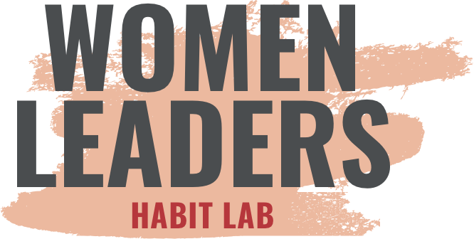 Logo saying 'Women Leaders Habit Lab' in big bold letters with pink paint brush stroke behind it